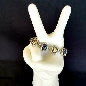 EUC Brighton Silver Heart Multi-Crystal Bracelet